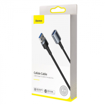 Baseus Converter Cable, Cafule USB3.0 Male to USB3.0 Female 2A 1m Dark Gray (CADKLF-B0G)