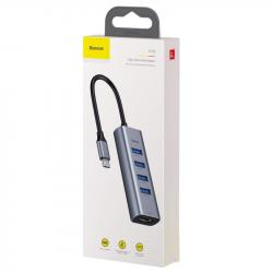 Baseus HUB Enjoy series Type-C to 4xUSB3.0 - HDMI HD intelligent adapter Gray (CAHUB-N0G)