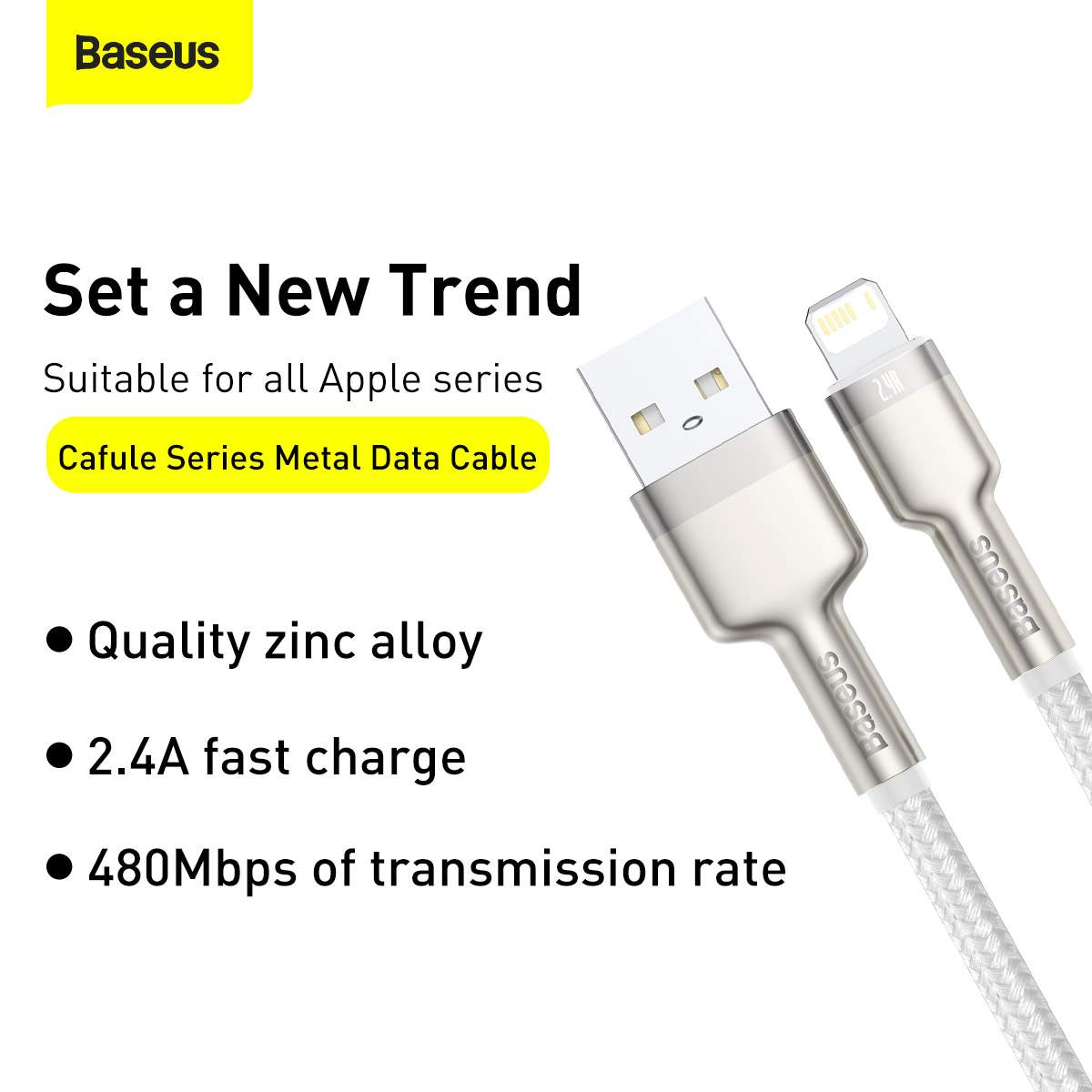 Baseus Lightning Cafule Series Metal data cable 2.4A 1m White (CALJK-A02)