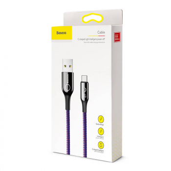 Baseus Type-C C-shaped Light indicatior Intelligent power-off Cable 3A 1m Purple (CATCD-05)