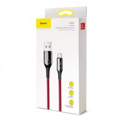 Baseus Type-C C-shaped Light indicatior Intelligent power-off Cable 3A 1m Red (CATCD-09)