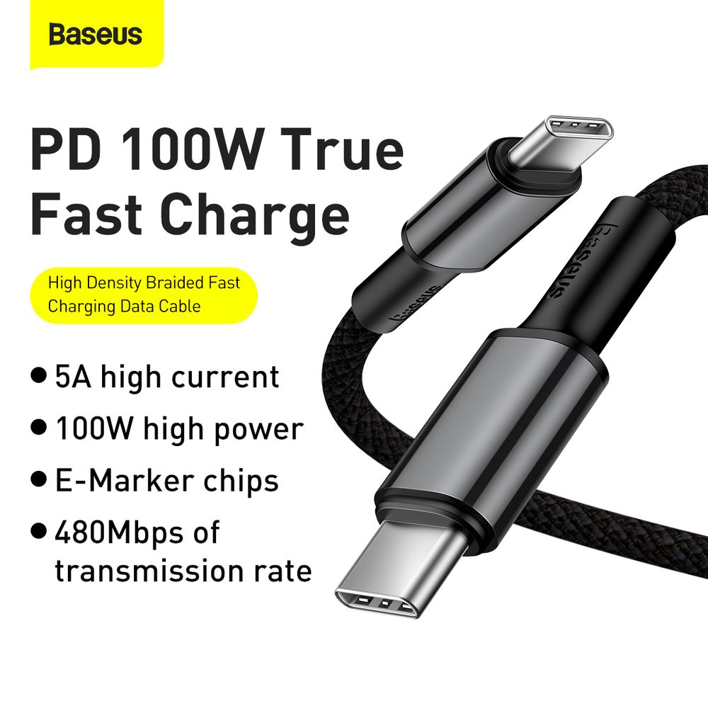 Baseus Type-C - Type-C cable High Density Braided Fast charge/data 100W(20V/5A) 2m Black (CATGD-A01)