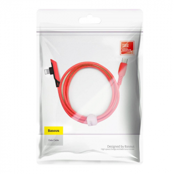 Baseus Type-C - Lightning Colourful Elbow angled cable with side plug 18W 1.2m Red (CATLDC-A09)