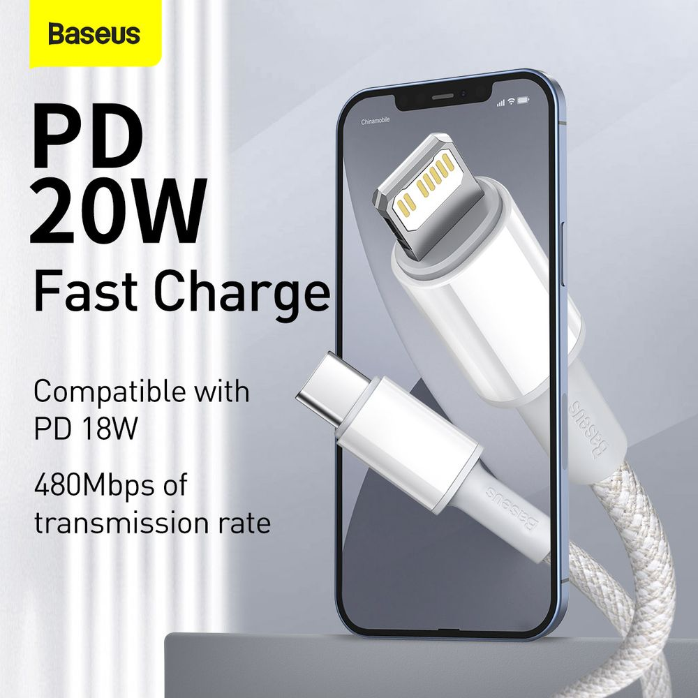 Baseus Type-C - Lightning High Density Braided Fast charging cable PD 20W  2m White (CATLGD-A02)
