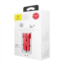 Baseus Car Charger Small Screw Dual USB Quick Charge 36W Red (CAXLD-B09)