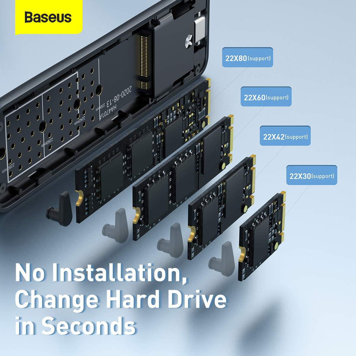 Baseus HUB Hard Disk Case Full Speed Series SSD Enclosure (Type-C - GEN2) Space Gray (CAYPH-F0G)