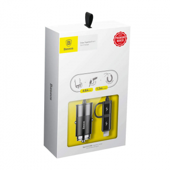 Baseus Car Charger Enjoy Together 2-in-1 Lightning and Type-C Black (CCALL-EL01)