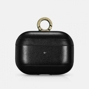 iCarer Apple Airpods Pro Case Vintage Leather (with the metal hook) Black