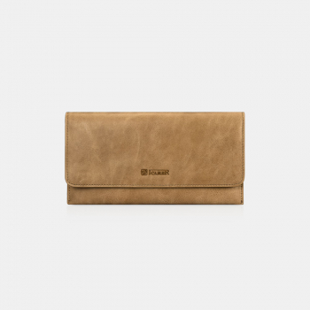 iCarer Tool Wallet Vegetable Tanned Leather Ultra-thin Light Brown