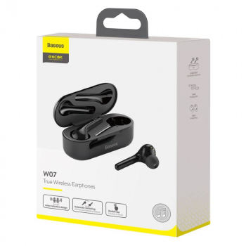 Baseus Earphone Bluetooth Encok W07 True Wireless Dual Mic BT 5.0 TWS Black (NGW07-01)