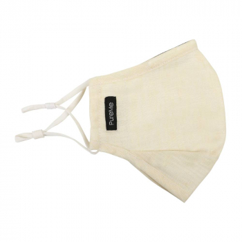 PureMe Reusable / Adjustable Mask Linen 2 pcs N95 filters inside the package Cream