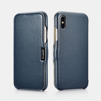 iCarer iPhone X/XS Case Luxury Series Side-open(metal clip in the front) Blue