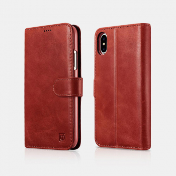 iCarer iPhone X/XS Case Leather Detachable 2-in-1 Wallet Folio Red