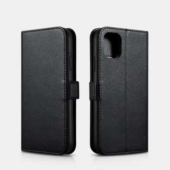 iCarer iPhone 11 Pro Max (6.5) Case Nappa Leather Wallet Detachable 2-in-1 Black