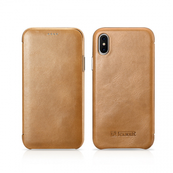 iCarer iPhone X/XS Case Curved Edge Vintage Series Khaki