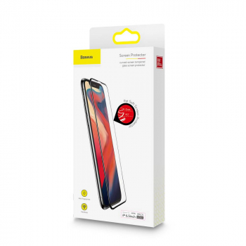 Baseus iPhone Xs Max 0.23 mm curved-screen crack-resistant edges T-Glass, Black (SGAPIPH65-APE01)