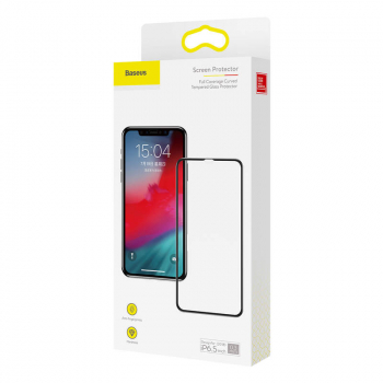 Baseus iPhone Xs Max 0.3 mm Full coverage curved T-Glass Protector Black (SGAPIPH65-KD01)