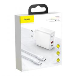 Baseus Travel Charger Speed PPS Quick charger C+U 30 With C-to-C cable White (TZCAFS-A02)