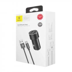 Baseus Car Charger Small Screw Dual USB Type-C Cable Set 3.4A Black (TZXLD-B01)