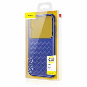 Baseus iPhone Xs Max case Glass & Weaving Blue (WIAPIPH65-BL03)
