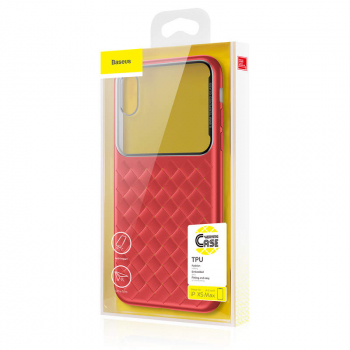 Baseus iPhone Xs Max case Glass & Weaving Red (WIAPIPH65-BL09)