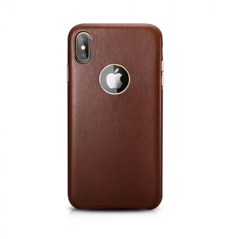 XOOMZ iPhone XS Max Case Real Lamb Leather Brown