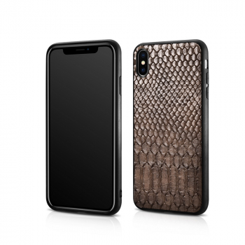 iCarer iPhone XS Max Case Snake Pattern PU Leather Brown